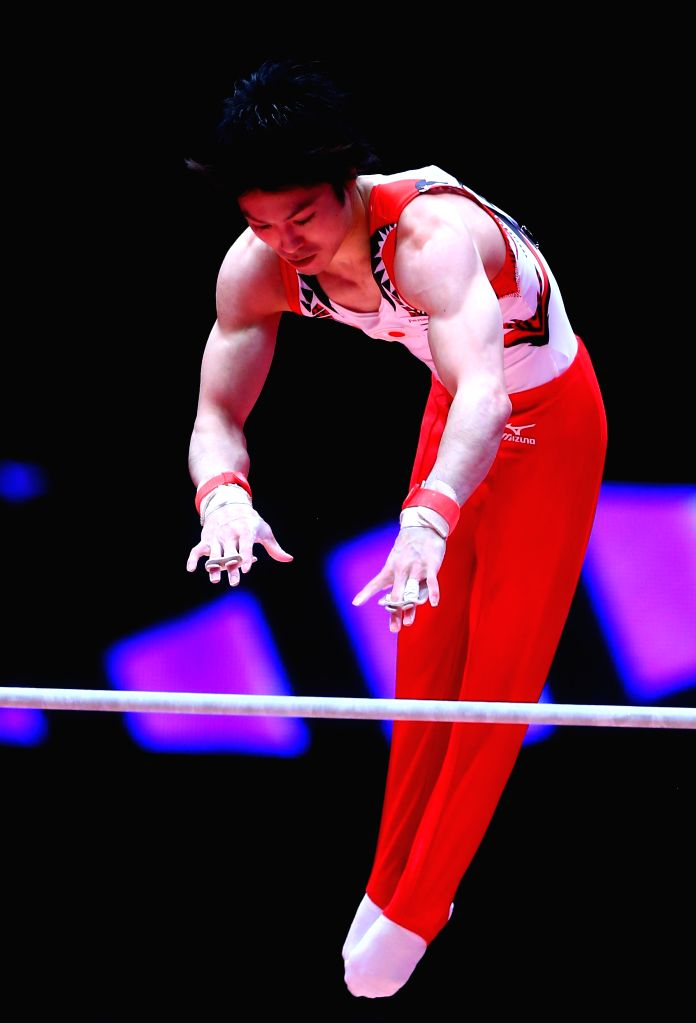 Kohei Uchimura of Japan competes during the Men's Horizontal Bar Final at the 46th World Artistic Gymnastics Championships at the SSE Hydro Arena in Glasgow, ...