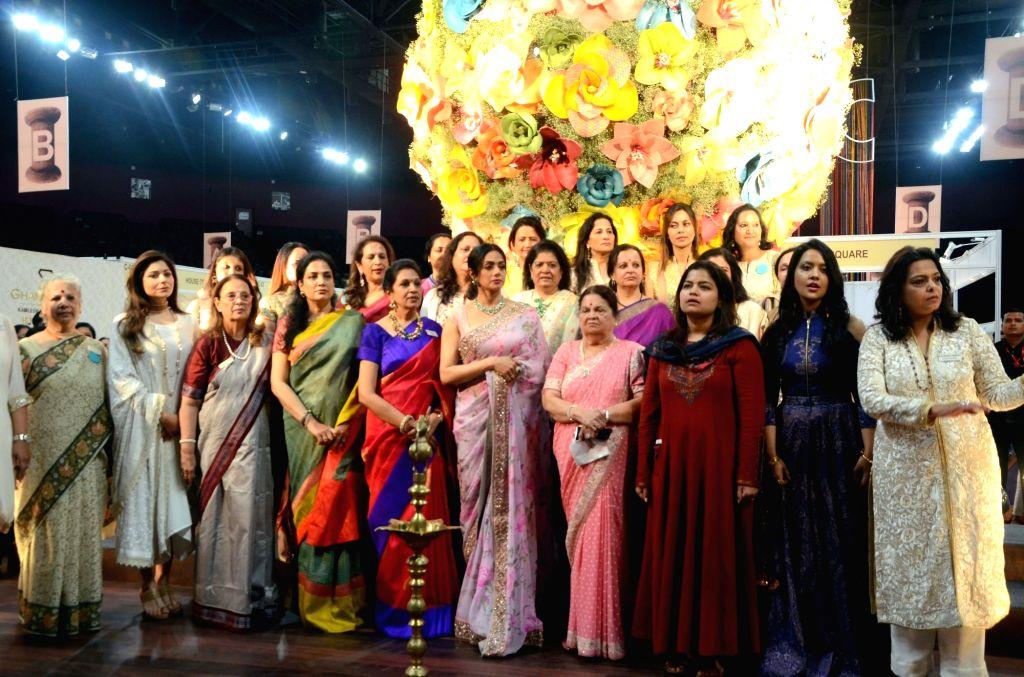 Kokilaben Ambani, Poonam Mahajan and Rashmi Thackeray and actress Sridevi during the inauguration of Women Entrepreneurs Exhibition in Mumbai on Aug 17, 2017. - Sridevi, Kokilaben Ambani and Poonam Mahajan