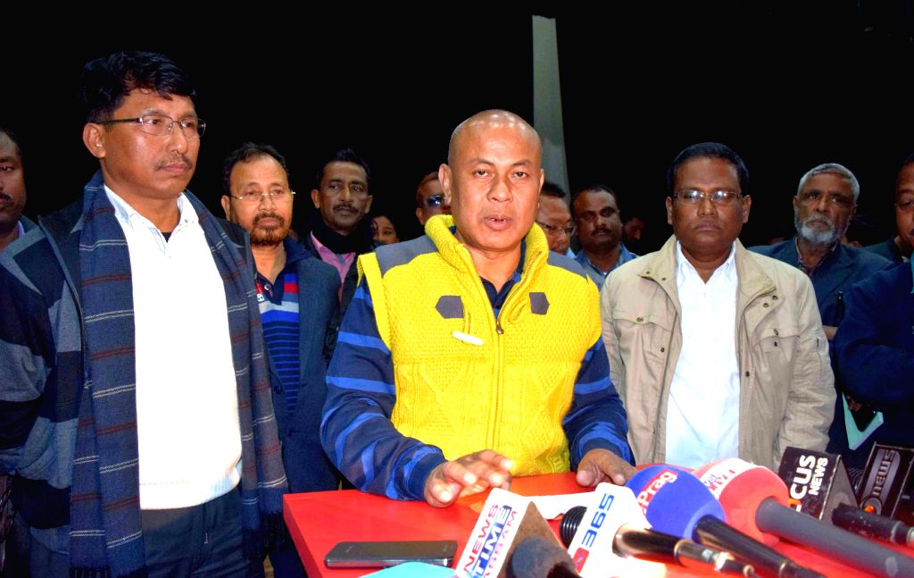 Bodoland Territorial Council (BTC) Chief Hagrama Mohilary addresses a press conference in Kokrajhar on Jan 4, 2015.