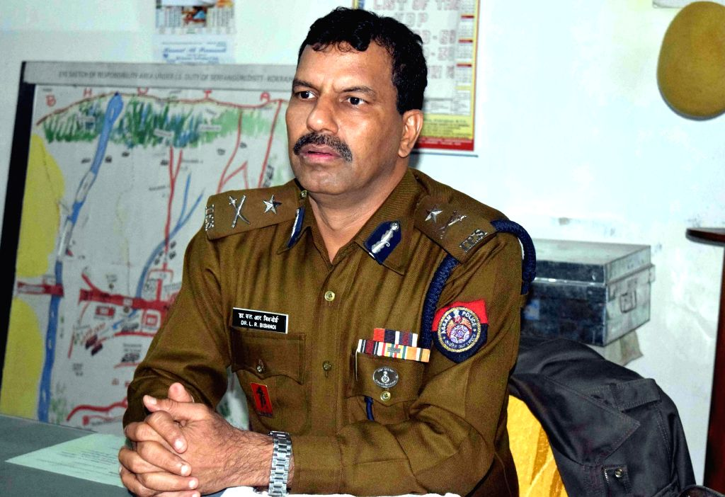 BTAD IGP Dr. L R Bishnoi addresses press after security forces killed NDFB (S) commander B. Jablang alias Jagat Basumatary in an encounter at Kausibazar area under Serfanguri police ...