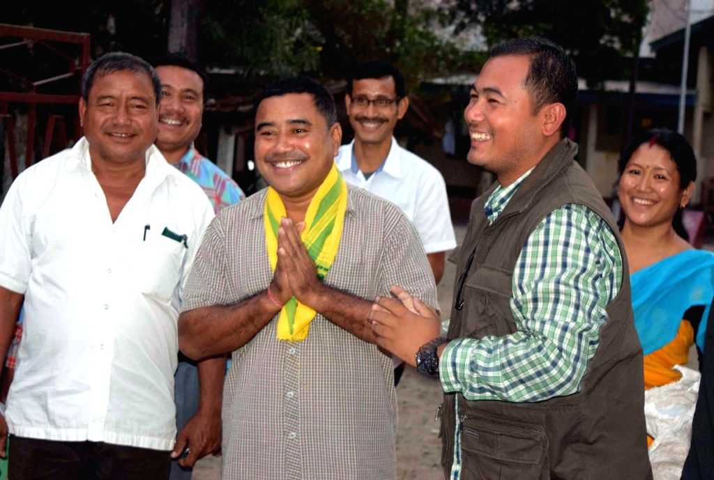 Kokrajhar based television journalist Jaiklong Brahma who was arrested for having alleged links with NDFB(S) being greeted by friends after he was released on bail from Kokrajhar Jail in ..