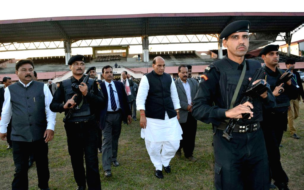 Union Home Minister Rajnath Singh visits violence hit Kokrajhar of Assam on Dec 25, 2014.