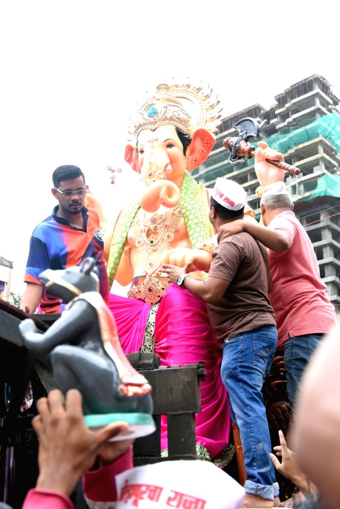 Kolhapurcha Raja's Ganesh idol leaves Santosh Kambli's workshop in Mumbai to Kolhapur, on July 28, 2019.