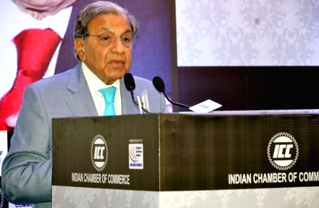 :Kolkata: 15th Finance Commission Chairman N.K. Singh addresses at an interactive session organised by Indian Chamber of Commerce in Kolkata on July 16, 2018. (Photo: IANS/PIB).