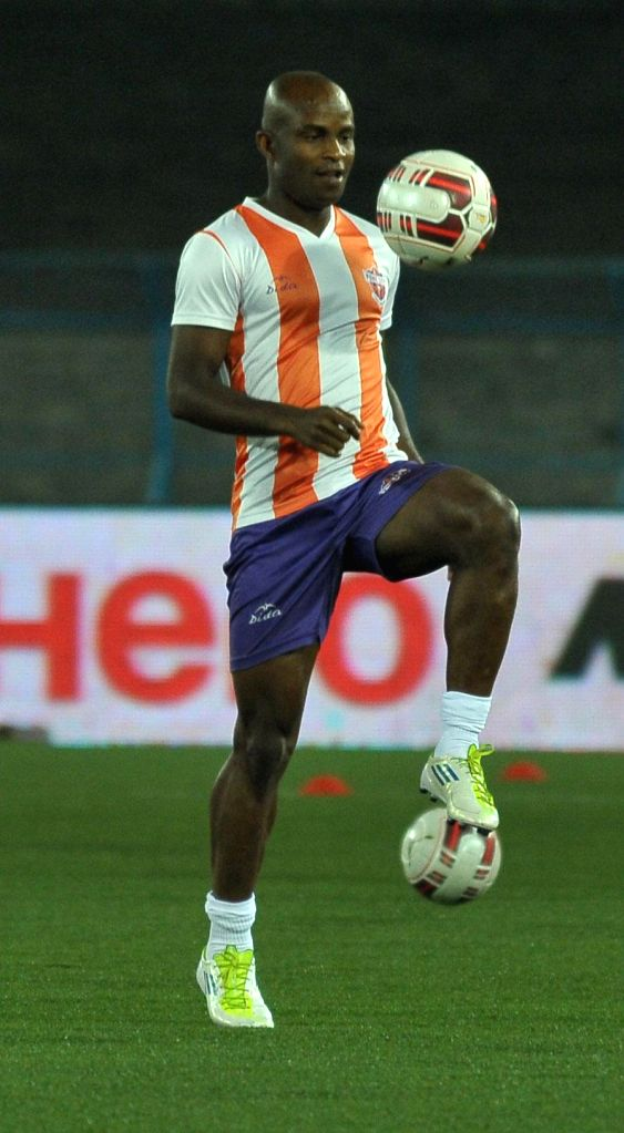 A FC Pune City player in action during a practice session at Salt Lake Stadium in Kolkata, on Nov 6, 2014.
