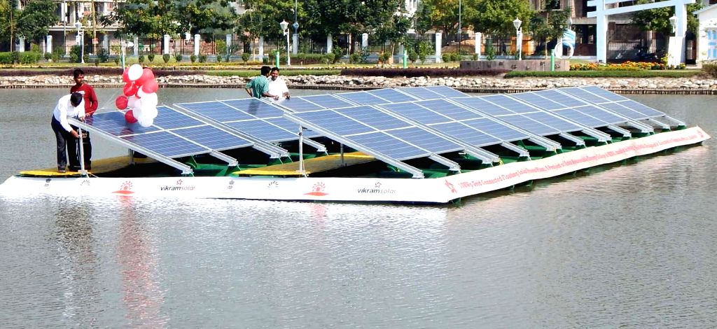 A floating solar power plant inaugurated at New Town in Kolkata on Jan 5, 2014.