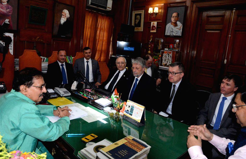 A parliamentary delegation from Czech Republic calls on West Bengal speaker Biman Banerjee in Kolkata, on April 29, 2015. - Biman Banerjee