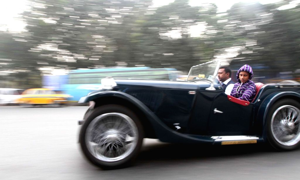 A participant of Vintage car rally in Kolkata on Jan 11, 2015.