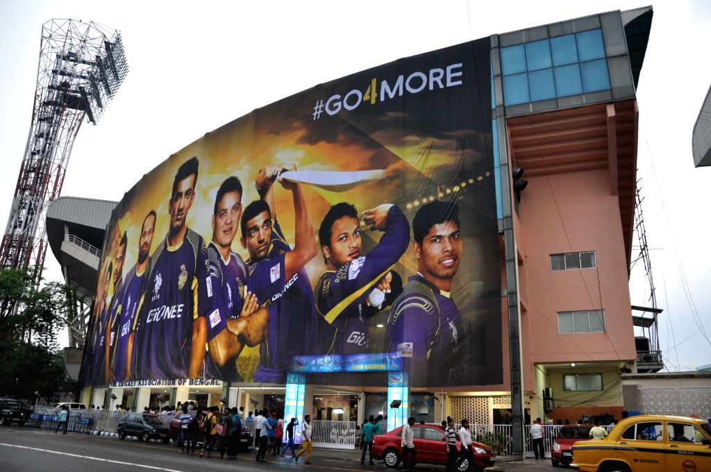 A view of the huge Kolkata Knight Riders banner outside the Cricket Association of Bengal (CAB) building in Kolkata.