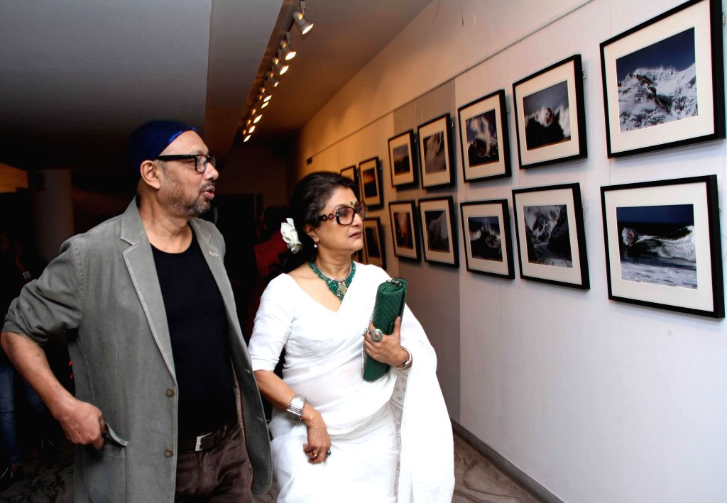 Actor and filmmaker Aparna Sen with Anjan Dutta during a photography exhibition in Kolkata on 11 Nov 2014.