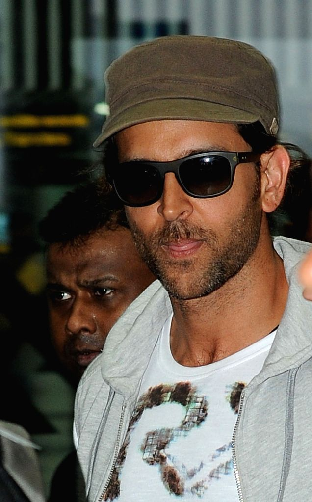 Actor Hrithik Roshan arrives at Netaji Subhas Chandra Bose Airport in Kolkata on April 6, 2015.