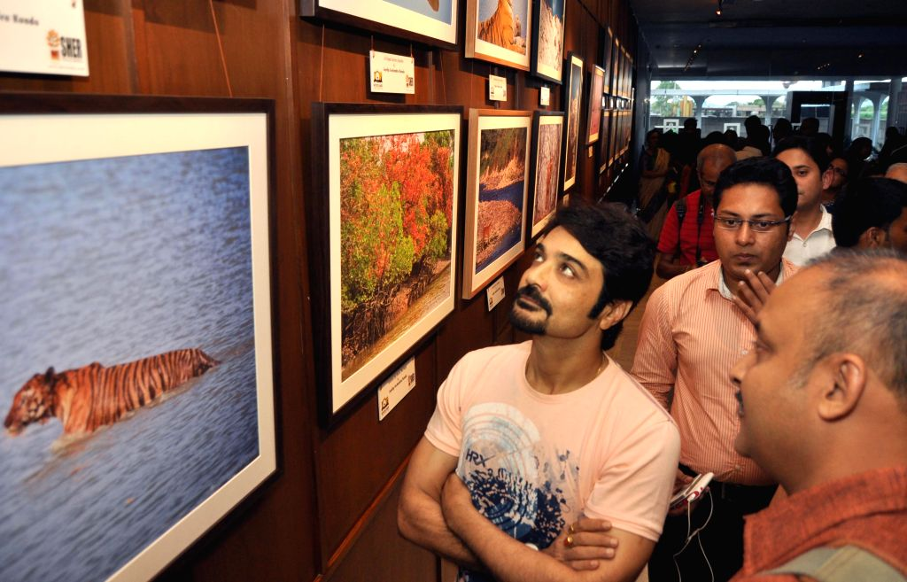 Actor Prasenjit Chatterjee during a wildlife photo exhibition in Kolkata on June 18, 2015.