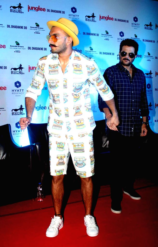 Actors Ranveer Singh and Anil Kapoor during a press conference to promote their upcoming film `Dil Dhadakne Do` in Kolkata, on May 24, 2015. - Ranveer Singh and Anil Kapoor