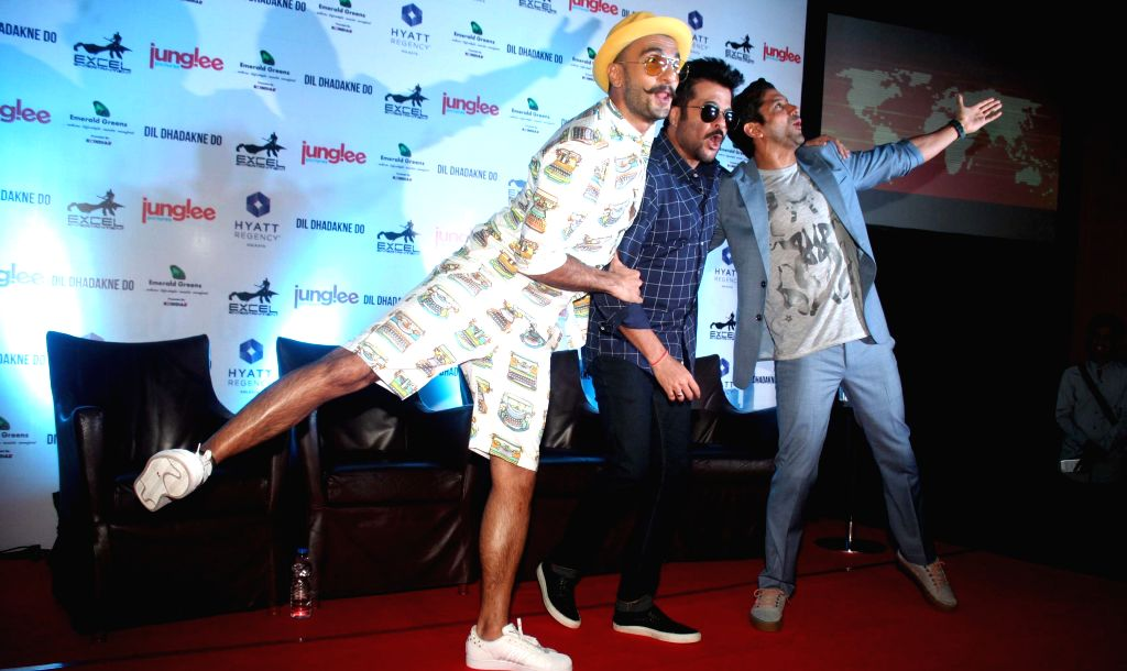 Actors Ranveer Singh, Anil Kapoor and Farhan Akhtar during a press conference to promote their upcoming film `Dil Dhadakne Do` in Kolkata, on May 24, 2015. - Ranveer Singh, Anil Kapoor and Farhan Akhtar