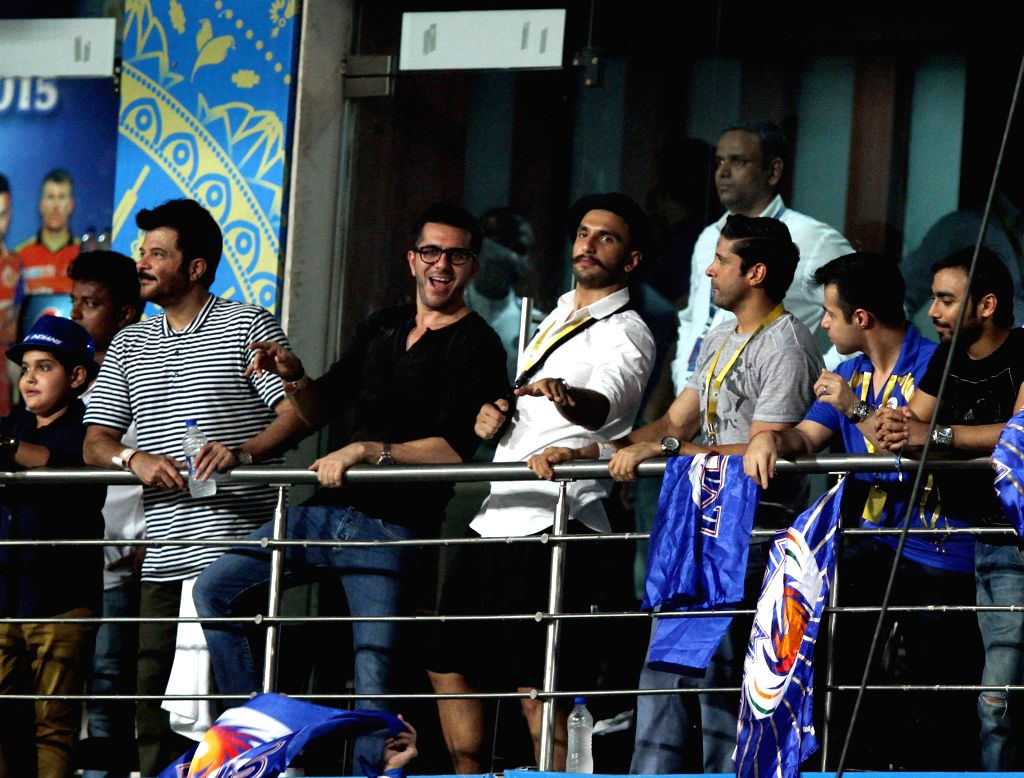 Actors Ranveer Singh, Anil Kapoor and Farhan Akhtar during the final match of IPL 2015 between Mumbai Indians and Chennai Super Kings at the Eden Gardens in Kolkata, on May 24, 2015. - Ranveer Singh, Anil Kapoor and Farhan Akhtar