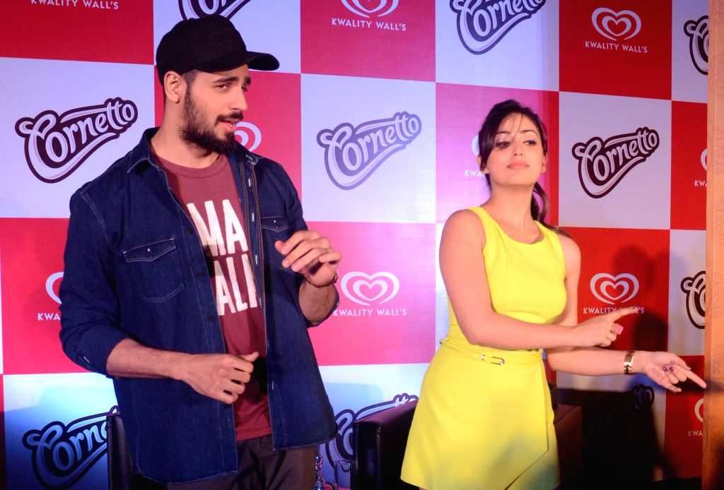 Actors Sidharth Malhotra and Yami Gautam during a promotional event in Kolkata on Oct 18, 2014.