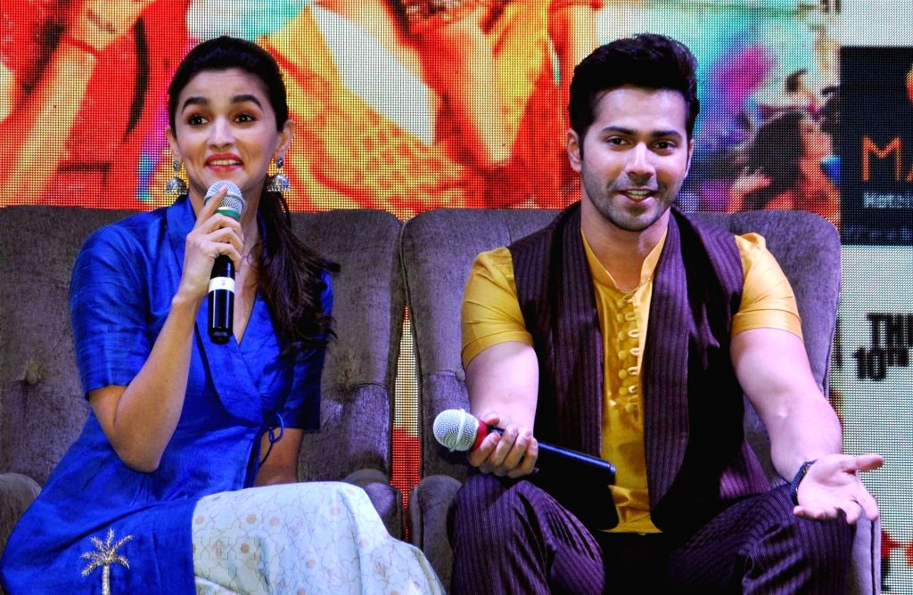 ":Kolkata: Actors Varun Dhawan and Alia Bhatt during a press conference organsied to promote ""Badrinath Ki Dulhania"" in Kolkata, on March 7, 2017.  ."