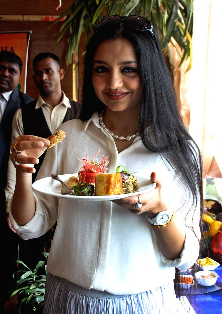 Actress June Malia during the launch of a restaurant in Kolkata on Feb 5, 2015.