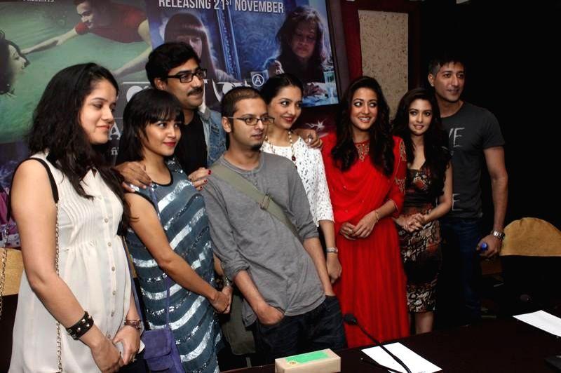 Actress Raima Sen, Riya Sen, June Malia, Kaushik Sen and others during a press conference to promote her upcoming film `Kolkata Calling` in Kolkata. - Raima Sen and Riya Sen