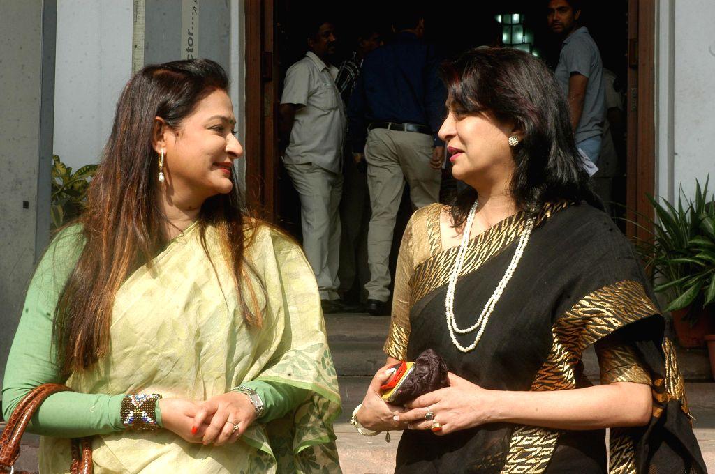 Actresses and Trinamool Congress legislators Debashree Roy and Nayna Bandyopadhyay at West Bengal Legislative Assembly in Kolkata, on Nov 19, 2014.