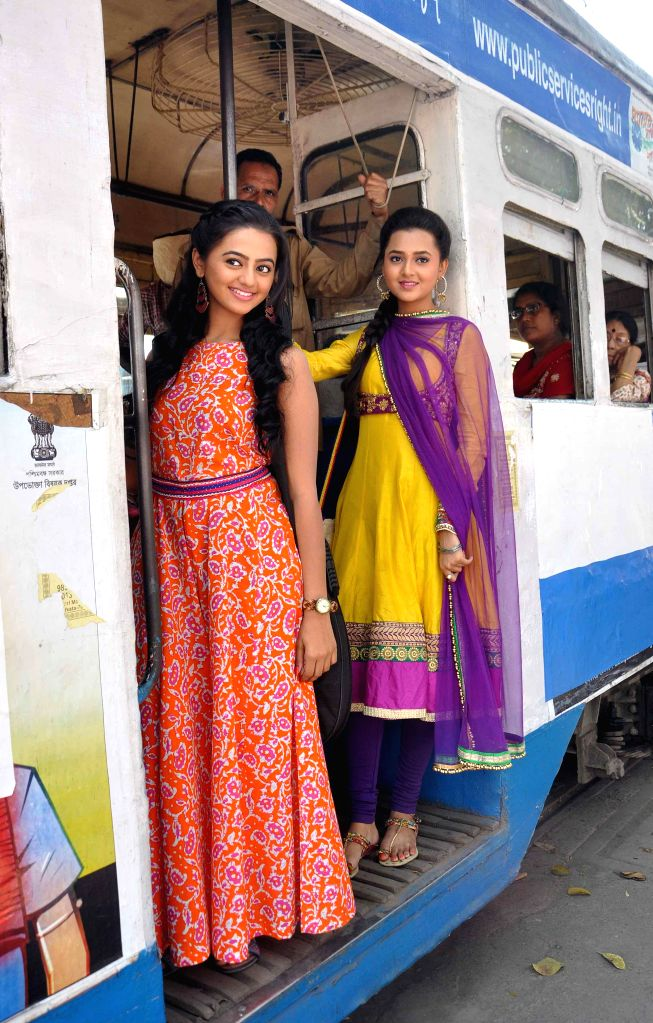 Actresses Helly Shah and Tejasvi Prakash during a shooting for their upcoming television soap `Swaragini` in Kolkata on Feb. 23, 2015. - Helly Shah and Tejasvi Prakash