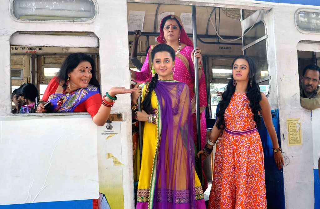 Actresses Helly Shah, Tejasvi Prakash, Alka Badola Kaushal and Tanima Sen during a shooting for their upcoming television soap `Swaragini` in Kolkata on Feb. 23, 2015. - Helly Shah, Tejasvi Prakash, Alka Badola Kaushal and Tanima Sen