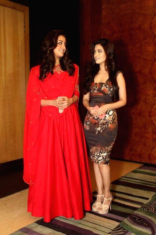 Actresses Raima Sen and Riya Sen during a press conference to promote their upcoming film `Kolkata Calling` in Kolkata. - Raima Sen and Riya Sen