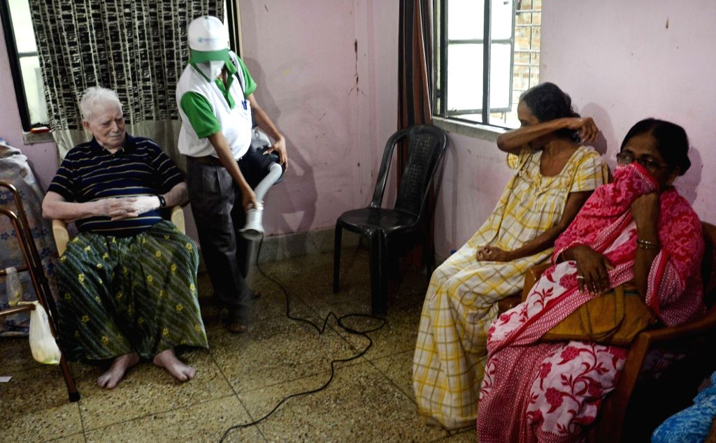 Kolkata : An old age home being sanitised by health workers amid COVD-19 pandemic, in Kolkata on Aug 2, 2020.