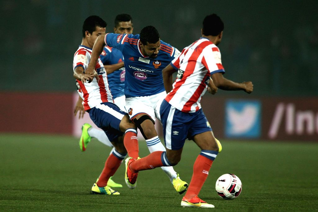 Andre Santos of FC Goa in action during an ISL semi-final match between Atletico de Kolkata and FC Goa in Kolkata, on Dec 14, 2014.
