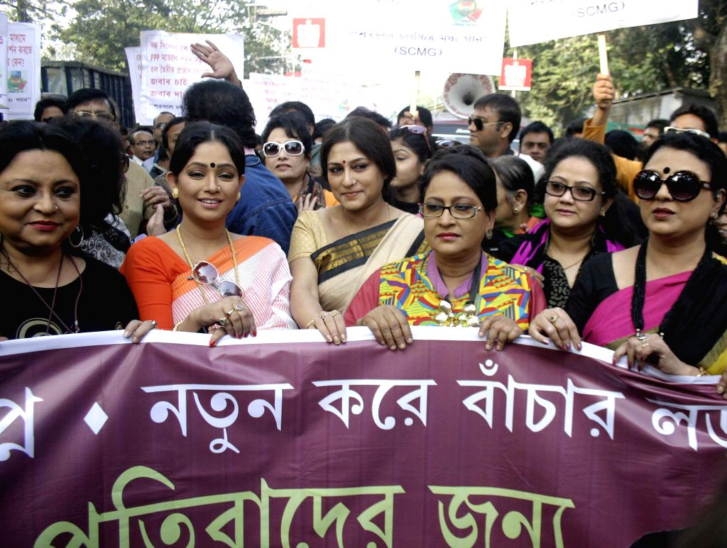 Artist Roopa Ganguly participates in a protest rally against West Bengal Government in Kolkata, on Jan 12, 2015. - Roopa Ganguly