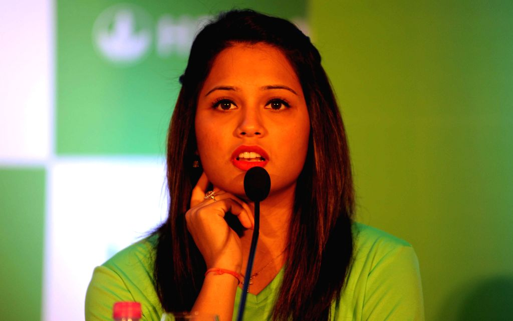 Asian Games medalist squash player Dipika Pallikal during a felicitation program for their excellent performance in Asian Games 2014, in Kolkata, on Nov 11, 2014.
