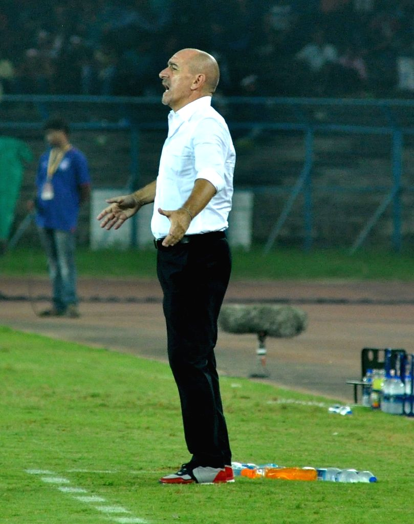: Kolkata: Atletico de Kolkata coach Antonio Lopez Habas during an ISL match between Atletico de Kolkata and NorthEast United FC in Kolkata on Nov. 7, 2015. .