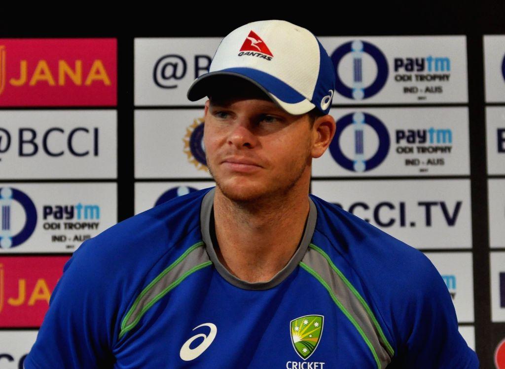 Kolkata: Australian skipper Steve Smith during a  press conference ahead of the 2nd ODI match between India and Australia at Eden Gardens Cricket stadium in Kolkata on Sep 20, 2017. (Photo: Kuntal Chakrabarty/IANS)