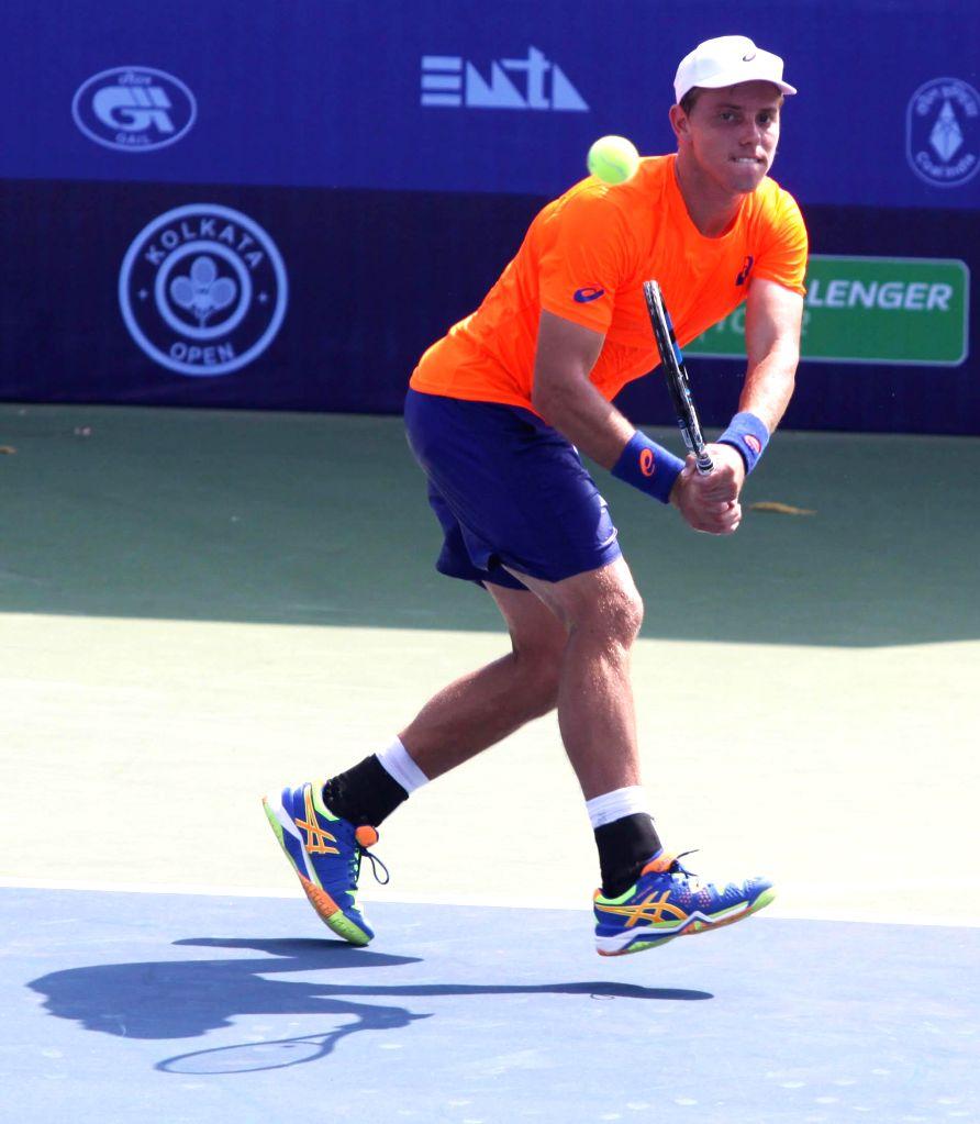 Australian tennis player James Duckworth in action during the Emami Kolkata Open 2015- ATP Challenger on Feb 23, 2015.