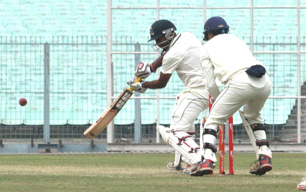 Bengal batsman Rohan Banerjee in action during a Ranji Trophy match against Mumbai in Kolkata, on Dec 30, 2014. - Rohan Banerjee