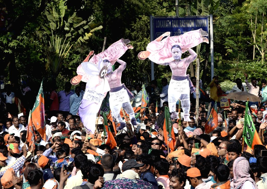 Kolkata: BJP supporters participate during a party's protest rally against West Bengal government in Kolkata on Nov 10, 2017. (Photo: IANS)