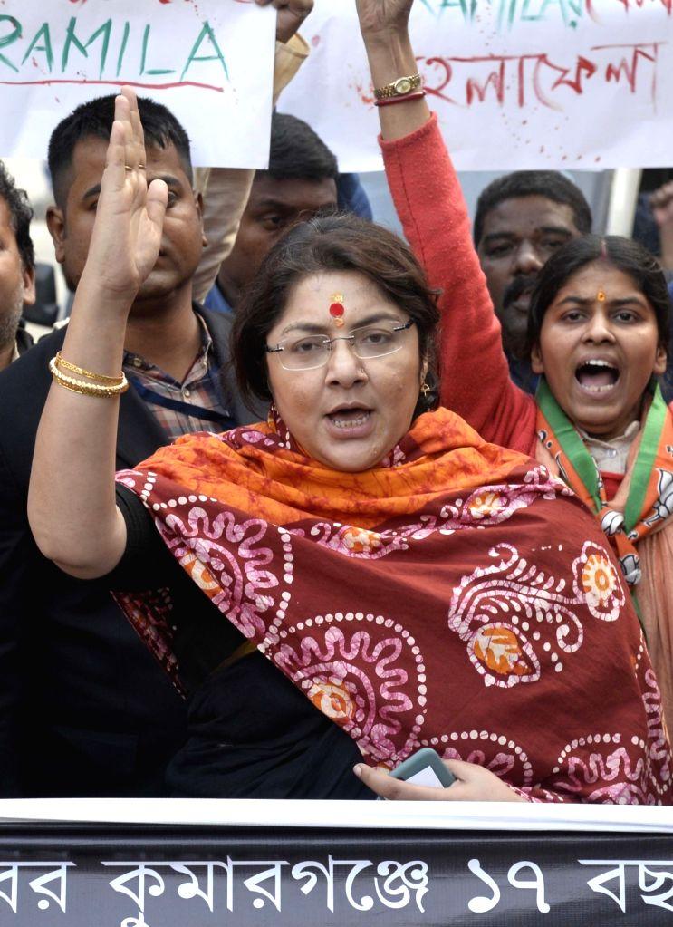Kolkata: BJP workers led by party leader Locket Chatterjee, stage a demonstration against Kumarganj rape case, in Kolkata on Jan 10, 2020. (Photo: IANS) - Chatterjee