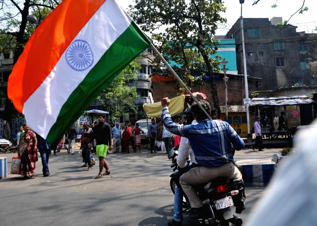 Kolkata: BJP workers take out a bike rally ahead of the Lok Sabha polls, in Kolkata, on March 3, 2019. (Photo: Kuntal Chakrabarty/IANS)