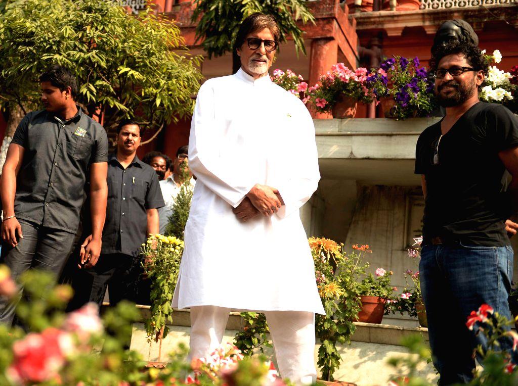 Bollywood actor Amitabh Bachchan at Jorasanko Thakurbari in Kolkata on Jan 24, 2015.