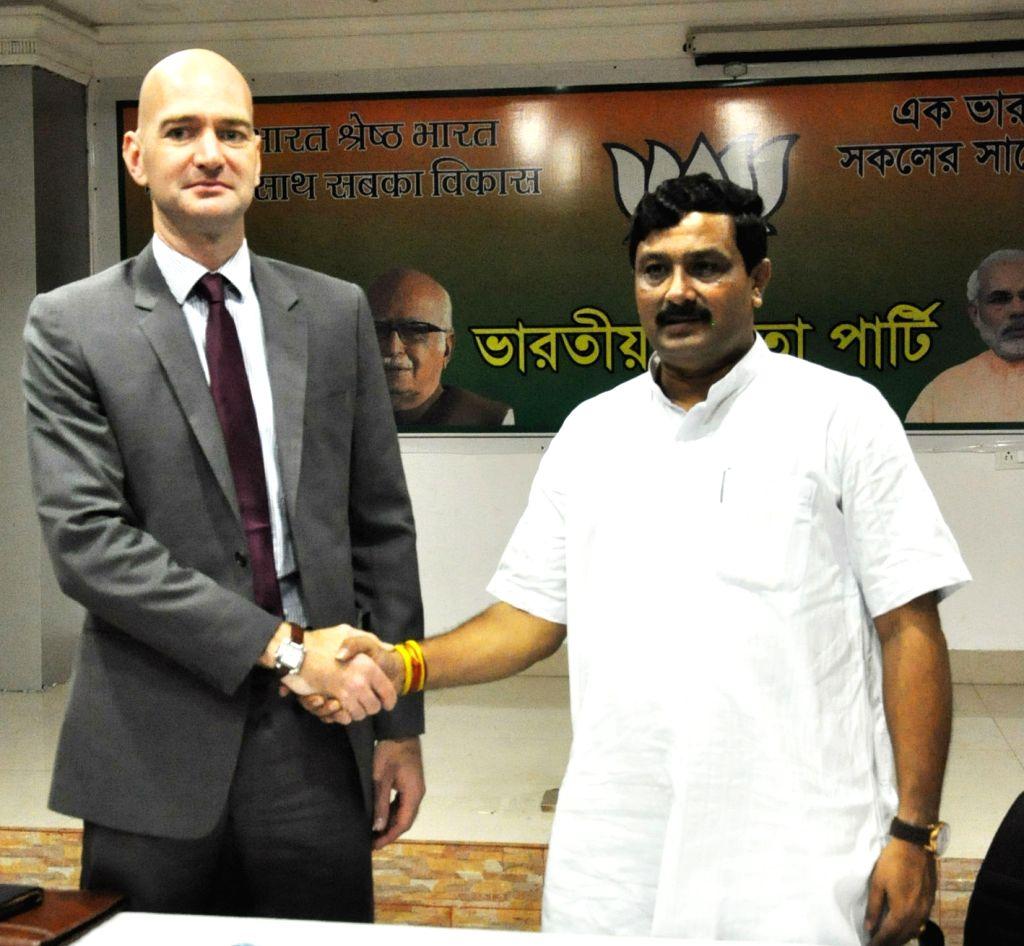 British Deputy High Commissioner in Kolkata Scott Furssedonn Wood during a meeting with West Bengal BJP chief Rahul Sinha in Kolkata, on May 6, 2015.