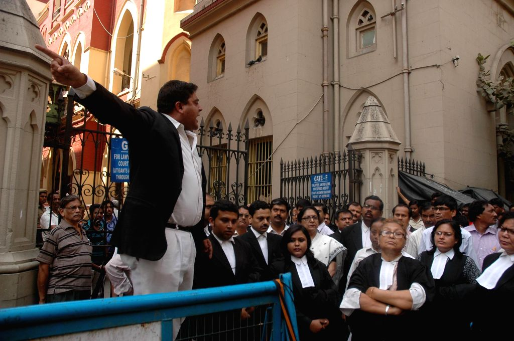 Calcutta High Court advocates stage a demonstration against the recent gang-rape of a nun in Ranaghat of West Bengal`s Nadia district, in Kolkata on March 19, 2015.