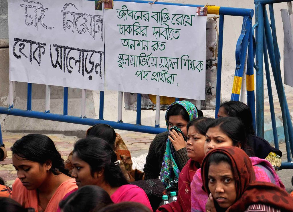 Candidates of West Bengal School Service Commission agitating in front of SSC office demanding permanent job in Kolkata on Jan 29, 2015.