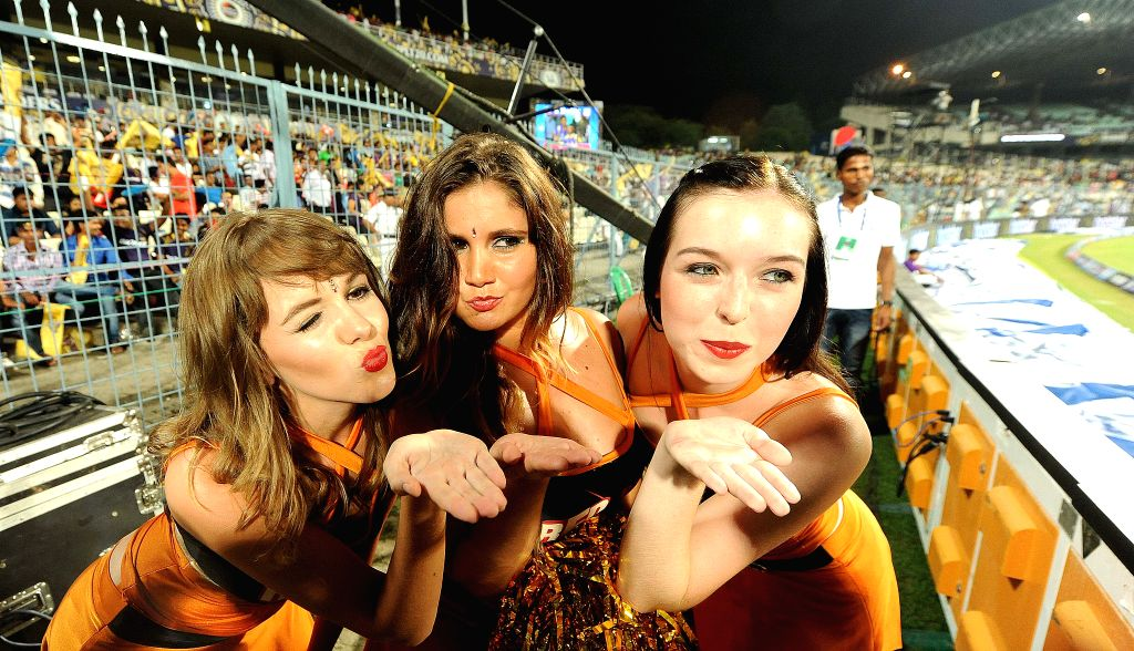 Cheer leaders during an IPL 2015 match between Kolkata Knight Riders and Sunrisers Hyderabad at the Eden Gardens in Kolkata, on May 4, 2015.