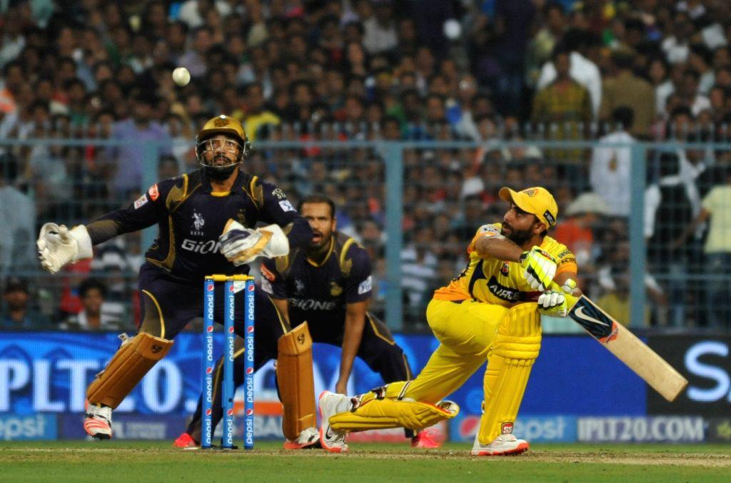 Chennai Super Kings bats man Ravindra Jadeja in action during an IPL-2015 match between Chennai Super Kings and Kolkata Knight Riders in Kolkata, on April 30, 2015. - Ravindra Jadeja