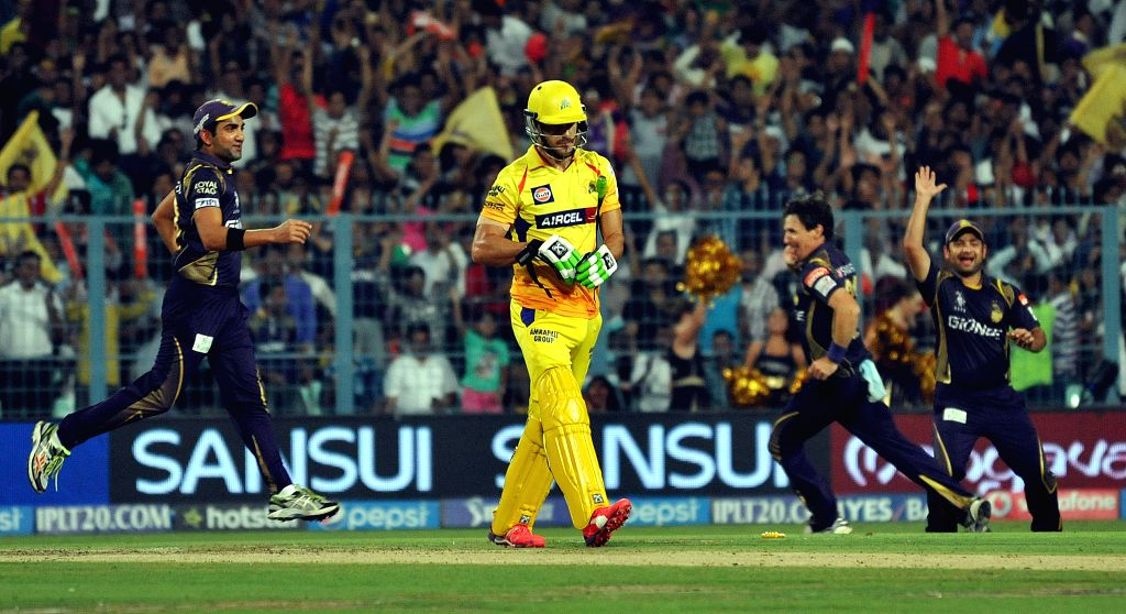 Chennai Super Kings player Faf du Plessis returns back to the pavilion after getting dismissed during an IPL-2015 match between Chennai Super Kings and Kolkata Knight Riders in Kolkata, on ...