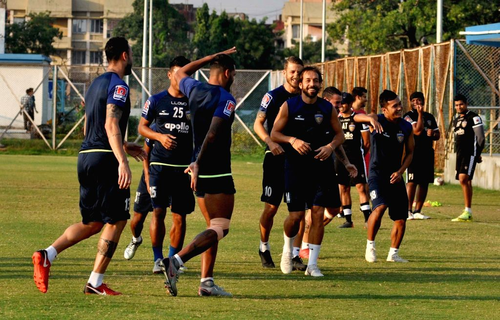 Kolkata: Chennaiyin FC players during a practice session ahead of an Indian Super League (ISL) 2018 match against ATK in Kolkata, on Oct 25, 2018. (Photo: Kuntal Chakrabarty/IANS)