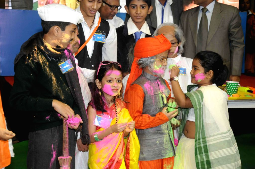 Children dressed as politicians during a programme in Kolkata, on Feb 19, 2015.