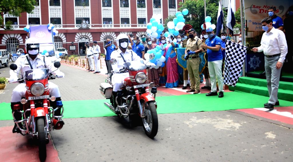 Kolkata Commissioner of Police Anuj Sharma flags off two tableau and police bike for awareness during International Day against Drug Abuse and Illicit Trafficking in Kolkata on June 26, 2020. - Anuj Sharma
