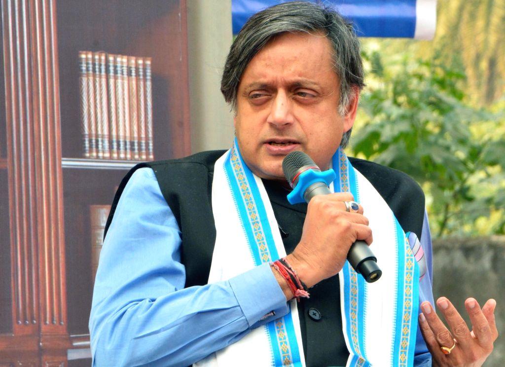 "Kolkata: Congress leader Shashi Tharoor addresses at ""Inspire The Champion In You Series"" programme in Kolkata, on Jan 18, 2019. (Photo: Kuntal Chakrabarty/IANS) - Shashi Tharoor"