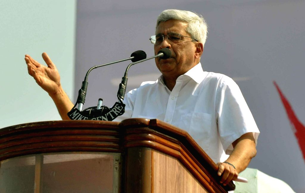 CPI(M) General Secretary Prakash Karat addresses  during the 24th West Bengal State Conference of the party being held at the Brigade Parade Ground in Kolkata, on March 8, 2015.